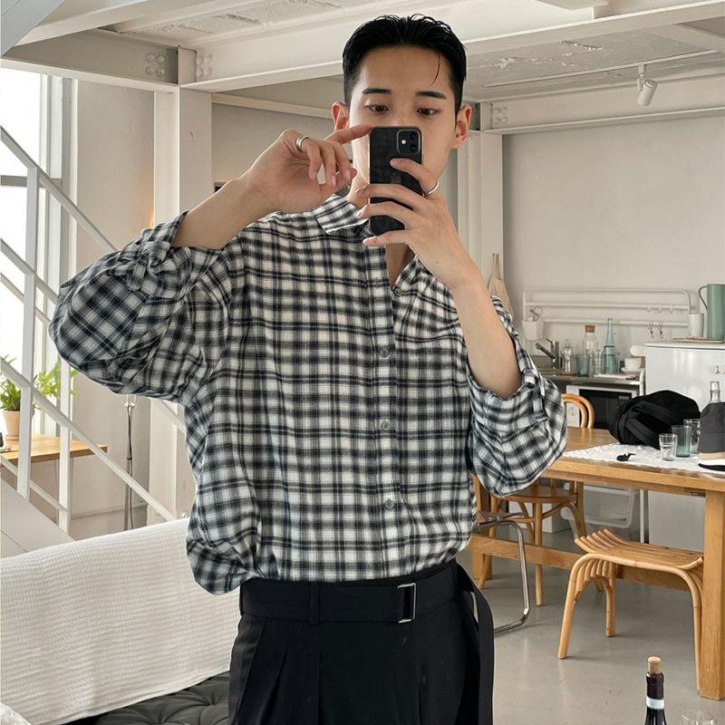 Летняя рубашка в клетку, мужская Тонкая рубашка с длинным рукавом, Мужская корейская модная повседневная рубашка, Мужская Уличная одежда, м...