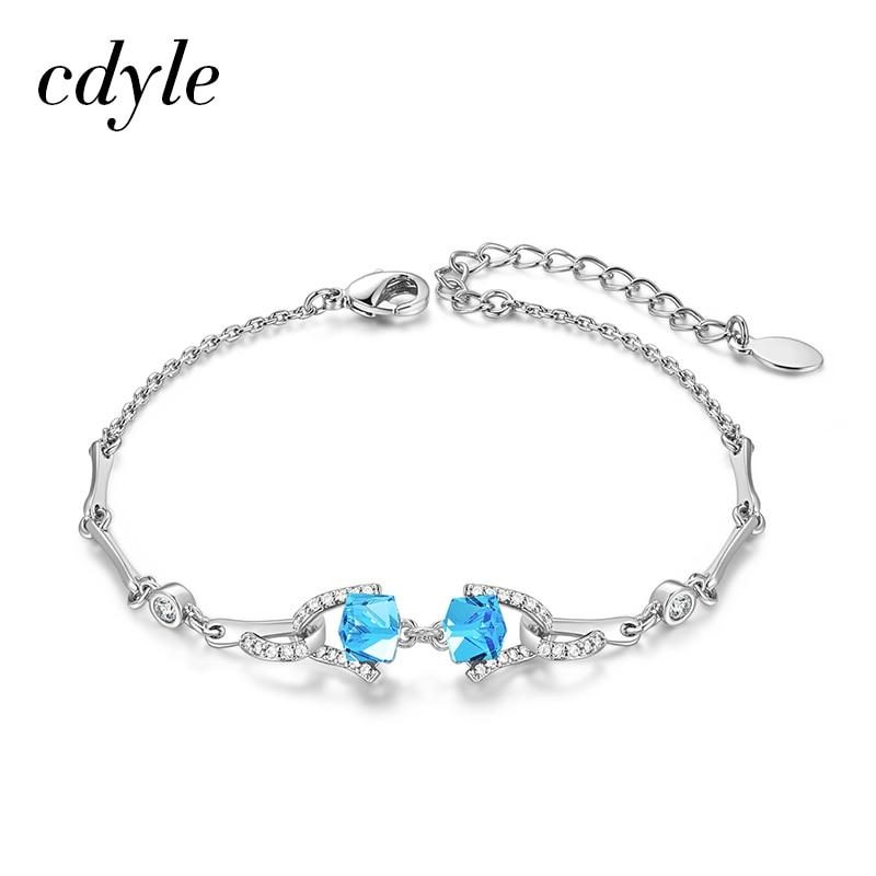 Cdyle luxo artesanal minimalista jóias azul cúbico cristal y em forma de pulseiras pulseiras femininas com aaaaa zircon nova chegada