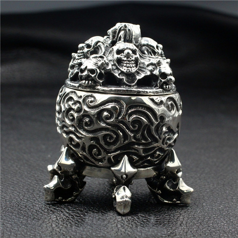 Skull incinerator 925 sterling silver handmade thick ornaments punk retro domineering six feet