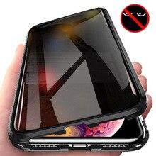 Магнитная Адсорбция закаленное стекло iPhone X конфиденциальности металлический чехол для телефона Coque 360 магнит Antispy Обложка для Apple iPhone XR XS MAX X 8, 7, 6, 6s Plus