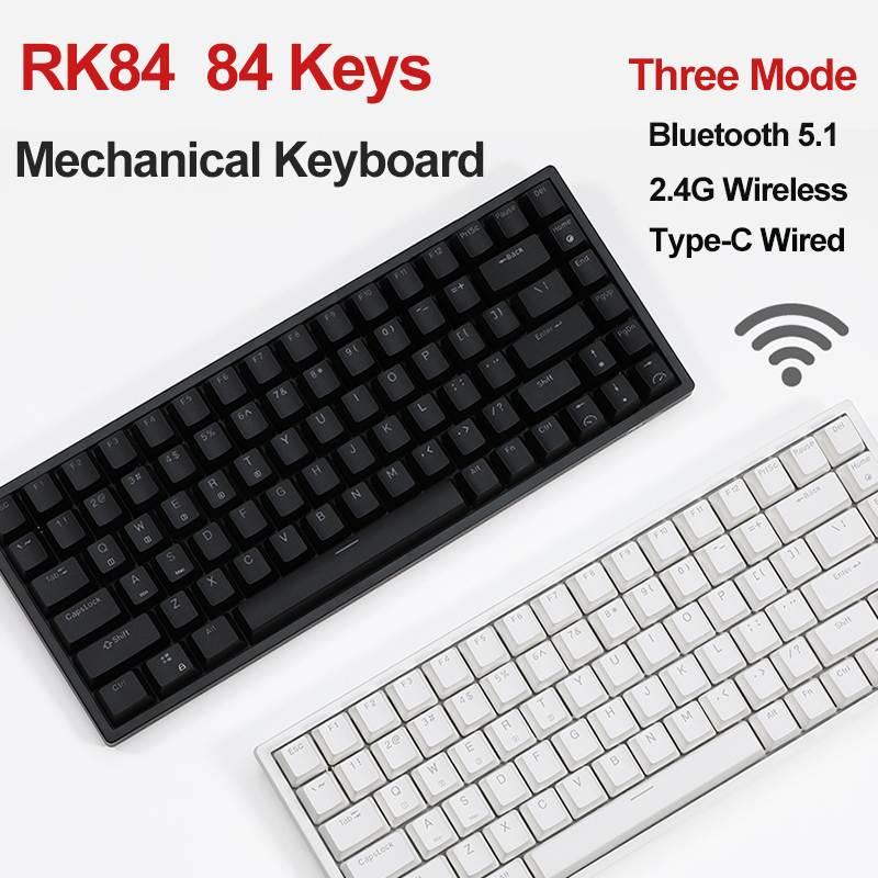 RK84 بلوتوث 5.1 + 2.4G اللاسلكية + Type-C السلكية ثلاثة وضع لوحة المفاتيح الميكانيكية 84 مفتاح الكرز MX التبديل لوحة مفاتيح الألعاب الميكانيكية