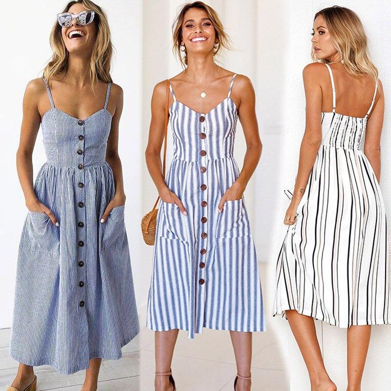 ¡Gran oferta Feitong 2020! Vestido informal sencillo a la Moda para mujer, vestido sin mangas a rayas con cuello redondo de Lino, bolso largo