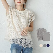 Round Neck Openwork Blouse 3 Colors Elegant Plain Ladies Fashion Short Sleeve Simple Shirt Two-Piece