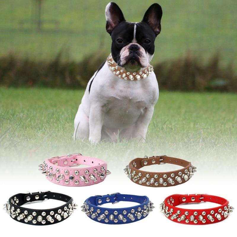 Collar de perro con pinchos barato, atractivo, tienda de mascotas, accesorios para perros, remache de cuero ajustable con tachuelas, Collar de perro mascota, correa para el cuello