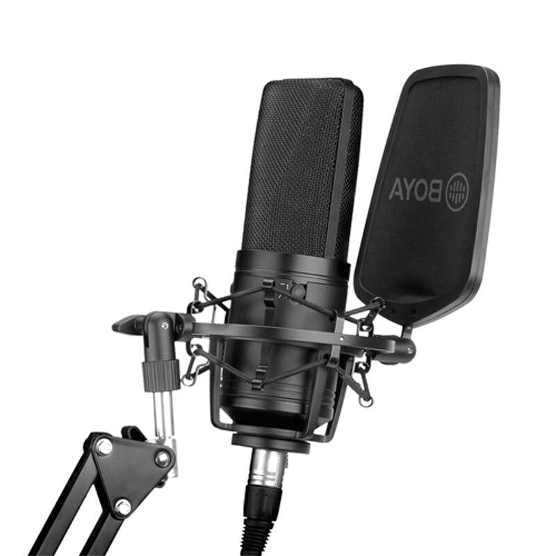 BOYA BY-M1000 profesional estudio micrófono condensador Mic grabación de sonido 3 patrones para cantante voz Youtube Vlog
