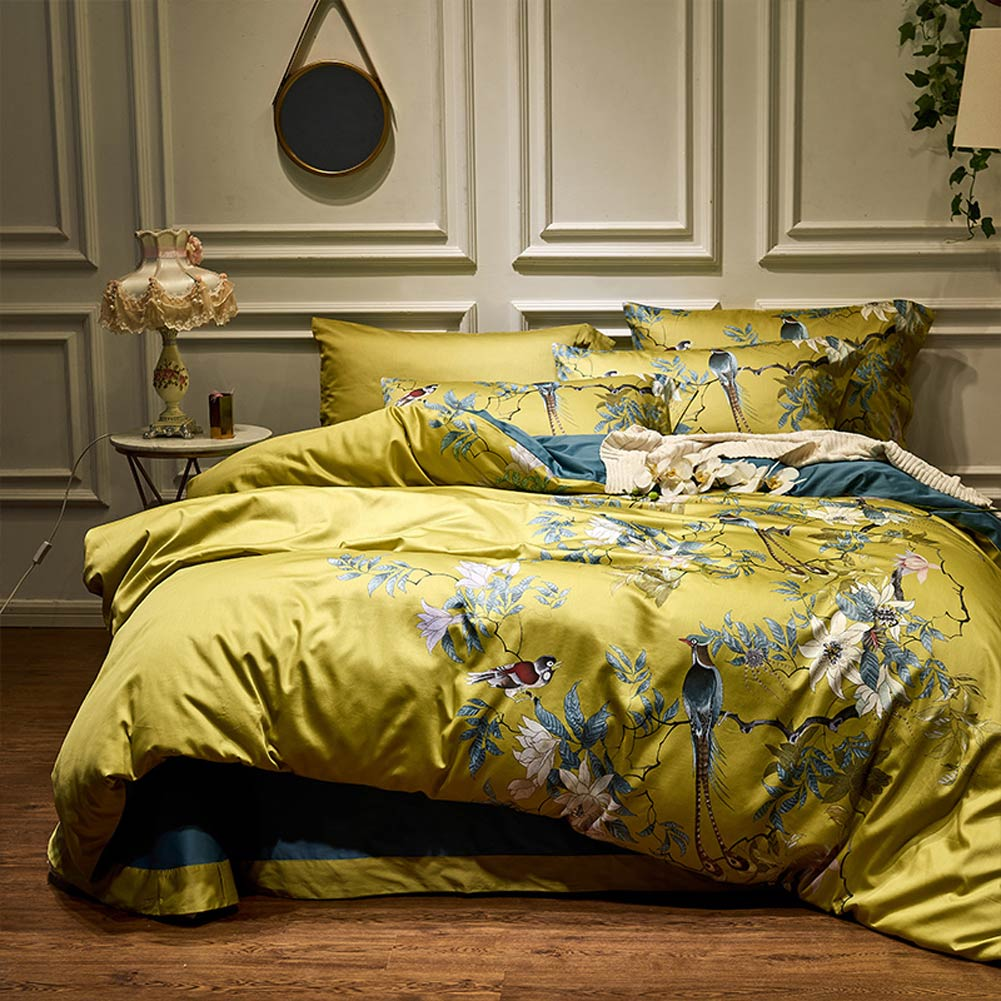 Svetanya-طقم أغطية سرير من القطن المصري ، طقم سرير ساتان فاخر مع طيور رعوية ذهبية ، مقاس كينغ/كوين