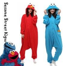 Elmo Cookie monstre Cosplay Costume adulte animaux Onesies sésame rue Costume Halloween barboteuse pyjamas hiver chaud vêtements de nuit