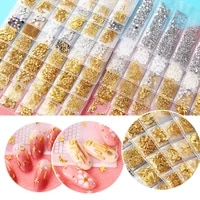 6 grids shell fruit curved stick round hollow base nail sequins gold and silver rivet nail nail drill nail art accessories