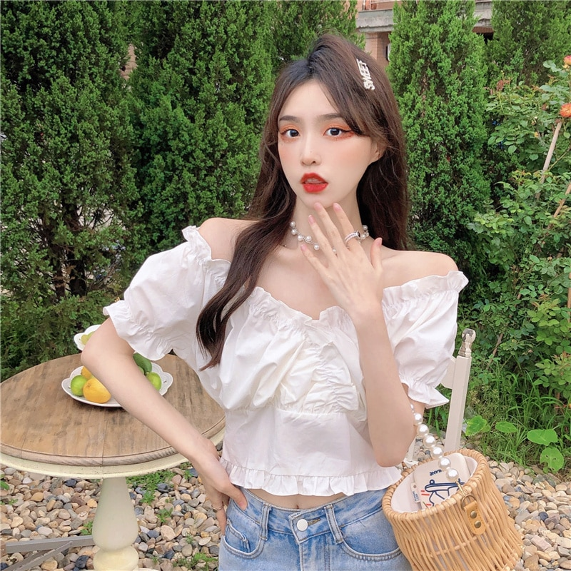 French Chic Wooden Ear Off-the-Neck Shirt Young Girl Fashion Blouse Sexy Sweet Dating White Top Kore