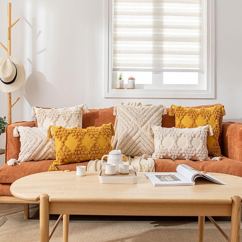 مجموعة من 2 بوهو وسادة يغطي الزخرفية مع شرابة أريكة الأريكة تاتامي معنقدة كيس وسادة فاخرة الأصفر كريم 30x5 0 سنتيمتر/45x45cm
