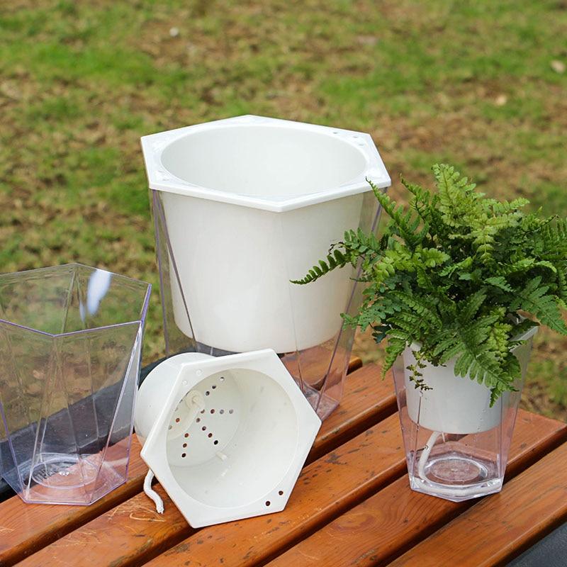 Maceta automática de irrigación automática para macetas, macetas de agua redondas para plantas perezosas, macetas de jardín para decoración del hogar