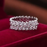hot sale classic luxury wheat shaped full circle white zironia crystal wedding ring for women jewelry hand accessories