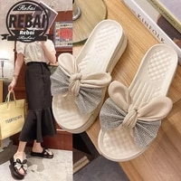 slippers women summer platform female shoes slides butterfly knot fashion 2021 flat soft luxury cotton fabric pu butterfly
