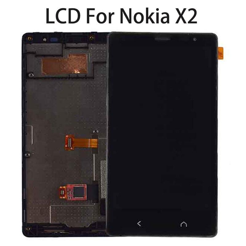 "Pantalla LCD de 4,3 ""para Nokia X2 RM-1013 X2DS pantalla táctil digitalizador Panel Sensor montaje para Nokia X2 pantalla con marco Dual SIM"