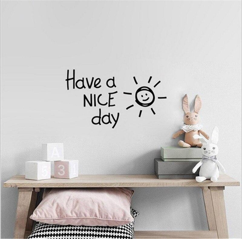 Tener un buen día sonrisa sol pared pegatina sala de estar dormitorio decoración del hogar calcomanías arte inglés alfabeto pegatinas papel tapiz