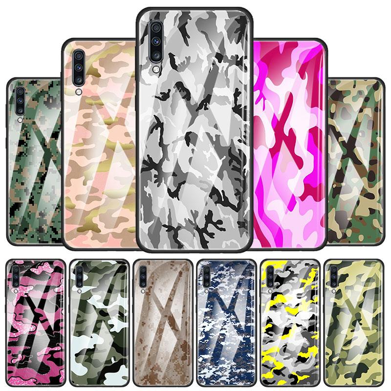 Ejército camuflaje de templado de vidrio de caso de teléfono para Samsung Galaxy A10 A20 A30 A40 A50 A70 A51 A71 A91 M31 M11 M21 cubierta Capa