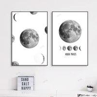 WTQ     peinture sur toile de Style nordique  affiche murale en noir et blanc  Art minimaliste  Phases de lune  image pour decoration de salon  decoration de maison