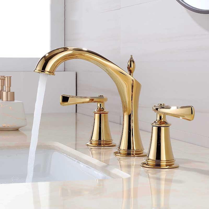 حوض صنبور على نطاق واسع النمط الأمريكي الكلاسيكي الذهب خلاط نحاس الحنفية حوض للحمام بالوعة المياه خلاط الذهب النحاس