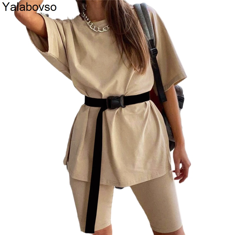 Two Piece Sets White Outfit Khaki Suit Summer 2021 Women Tracksuits O Neck Loose Sleeve Tops Shirt And Biker Shorts Casual
