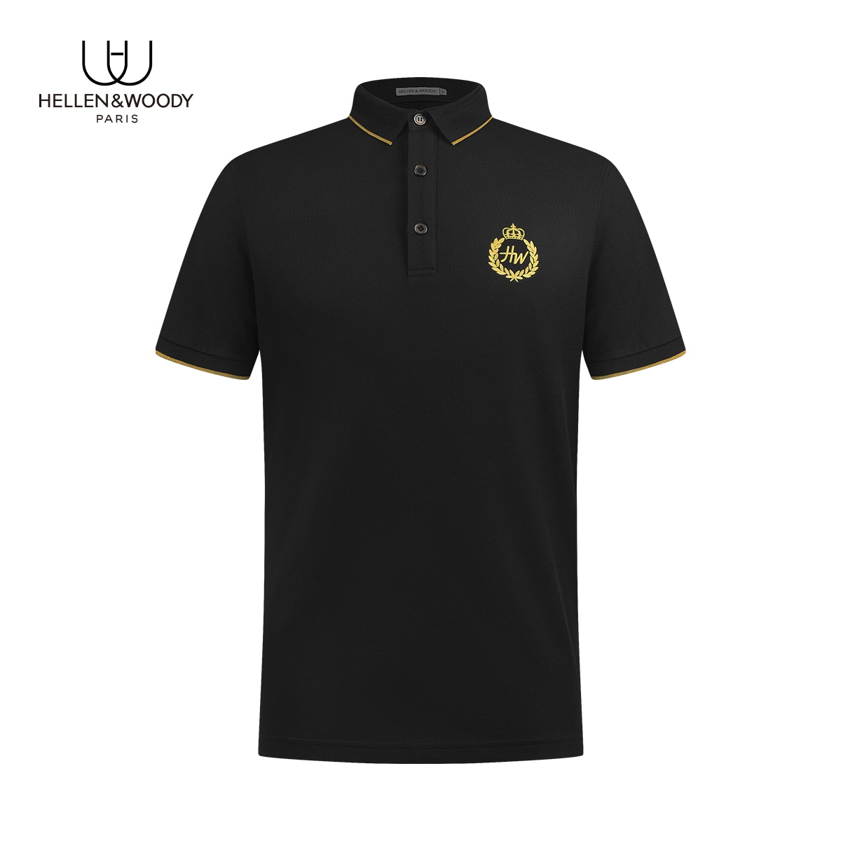 2021NewArrivalHellenwoody French Luxury Summer Men's Short Sleeve Embroidered Fashion Slim Pure Cotton Lapel Casual POLO Shirt