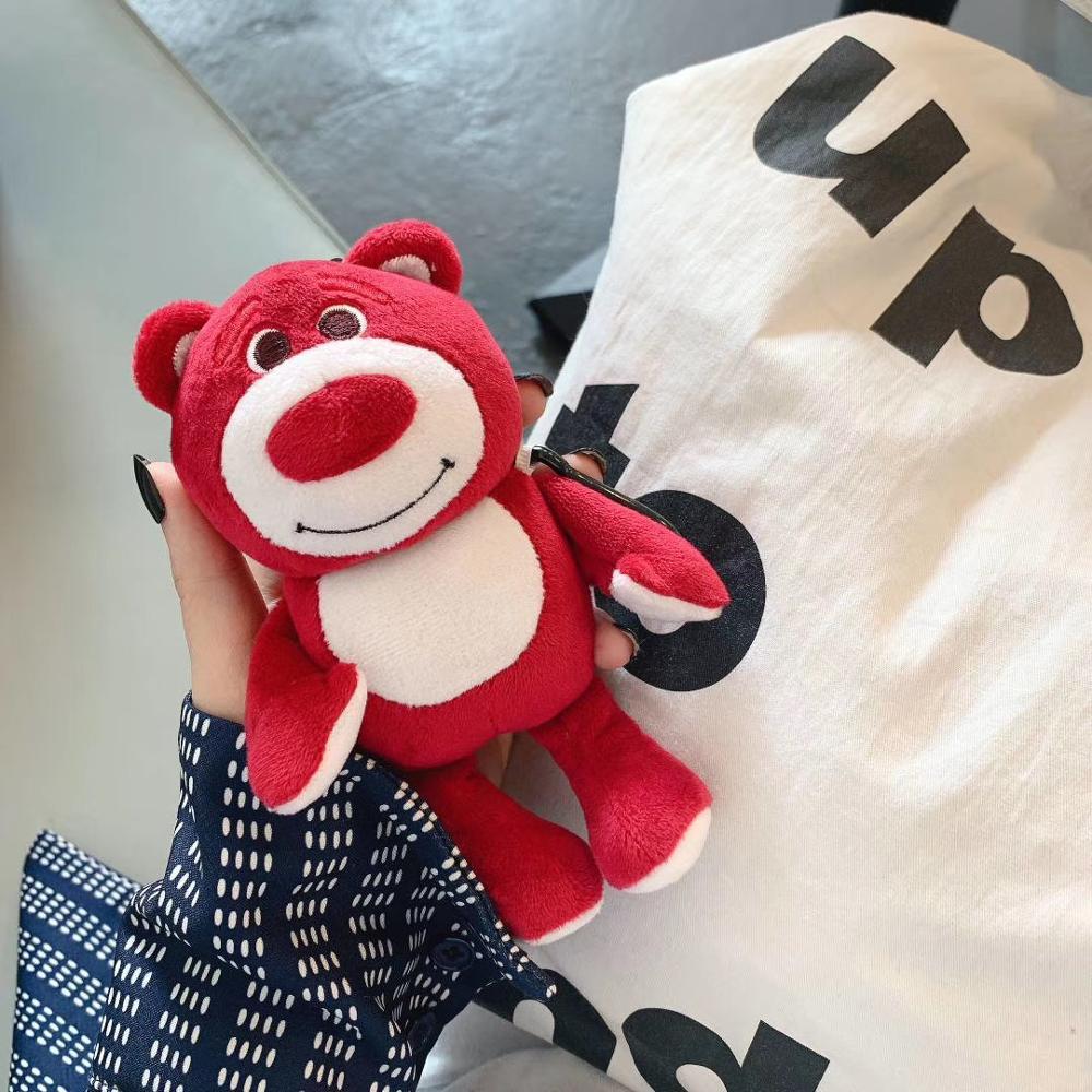 Lindo para los airpods de apple case1 2 oso de peluche bolsas de dibujos animados auriculares caja marrón encantos