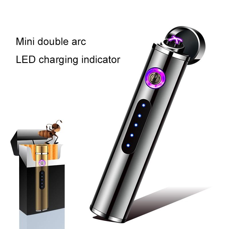 Mini encendedor USB de arco Dual interruptor de Sensor táctil de carga encendedor electrónico de Plasma a prueba de viento encendedor de cigarrillos sin llama 10 unids/lote