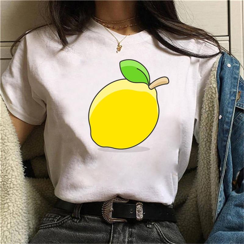 Топ с графическим рисунком, женские футболки с рисунком лимона, забавная футболка, белые топы, повседневные короткие женские футболки, футб...