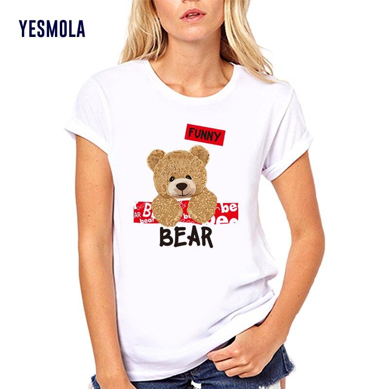 YESMOLA Custom T Shirt Women Casual Cute Shirts Cartoon Bear Men Women O-neck T-shirt Fashion Cotton Casual Top