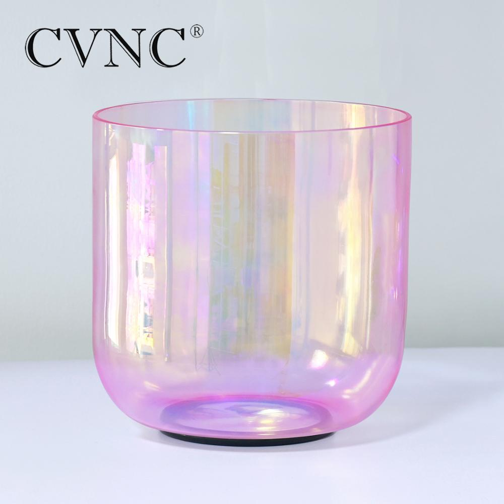 CVNC 7 Inch Pink Clear Alchemy Quartz Crystal Singing Bowl with Cosmic Light for Sound Healing Anxiety Hypertension Stress enlarge