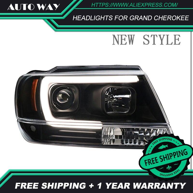 Cubierta de Faro de estilo de coche para Jeep Grand Cherokee faros LED 1991-2004 faro LED H7 D2H HID Ojo de Ángel haz de Bi Xenon