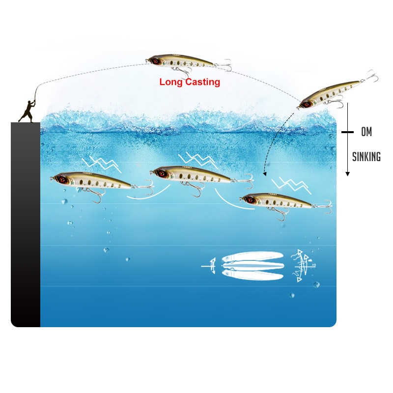 Noeby Sinking Pencil Fishing Lure 140 160 180mm Sea Artificial Hard Bait 9062 Long Casting Ocean Fishing lures Saltwater Wobbler enlarge