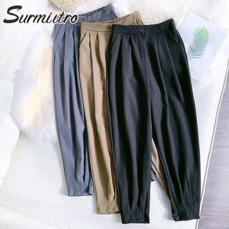 SURMIITRO, pantalones tobilleros de estilo coreano, Pantalones de mujer con cinturón, pantalones Harem femeninos de otoño invierno 2020, pantalones negros de cintura alta para mujer