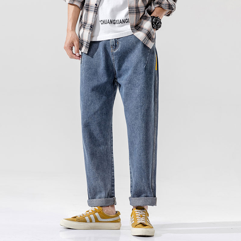 2021 Men's Casual And Loose Flat Waist Jeans, Tooling Wide Version Fashion Versatile Trousers B229