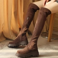 2021 platform pumps shoes women suede leather over the knee high motorcycle boots female round toe thigh high fashion sneakers