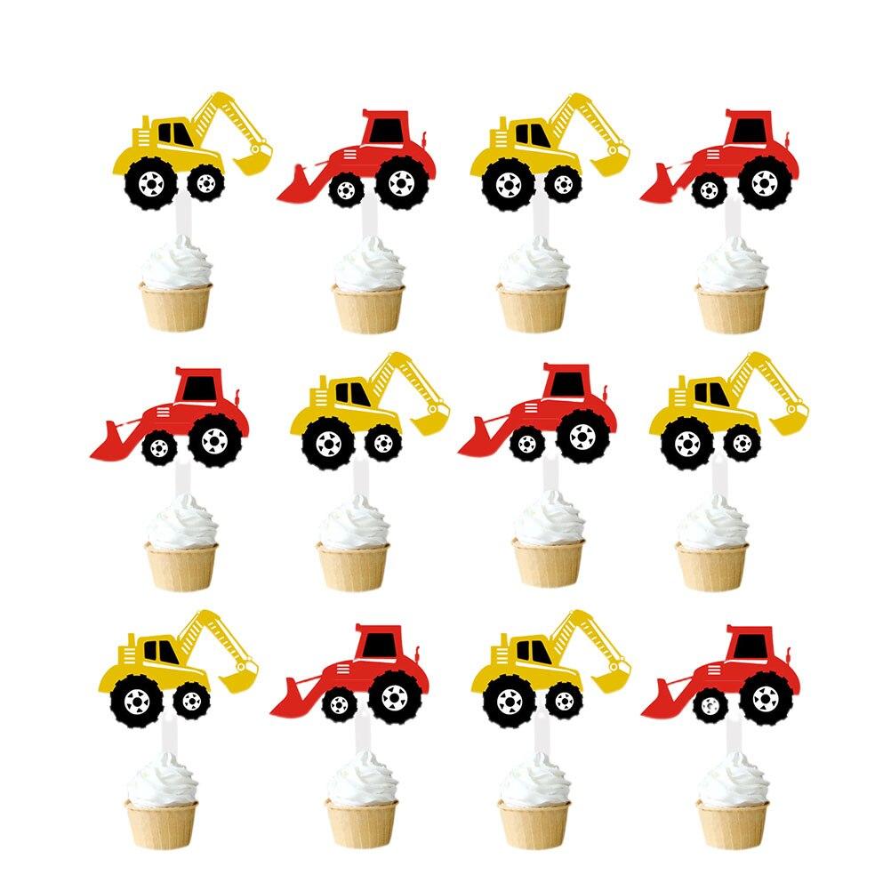 12 piezas excavadora de camión de construcción, Topper de pastel de papel, Topper de Cupcake, palillos de pastel de fruta, palillo de dientes, suministros para fiestas de cumpleaños para niños