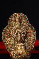 4 tibet buddhism old tibetan silver gilt tracing gem thousand hand guanyin bodhisattva amulet enshrine the buddha