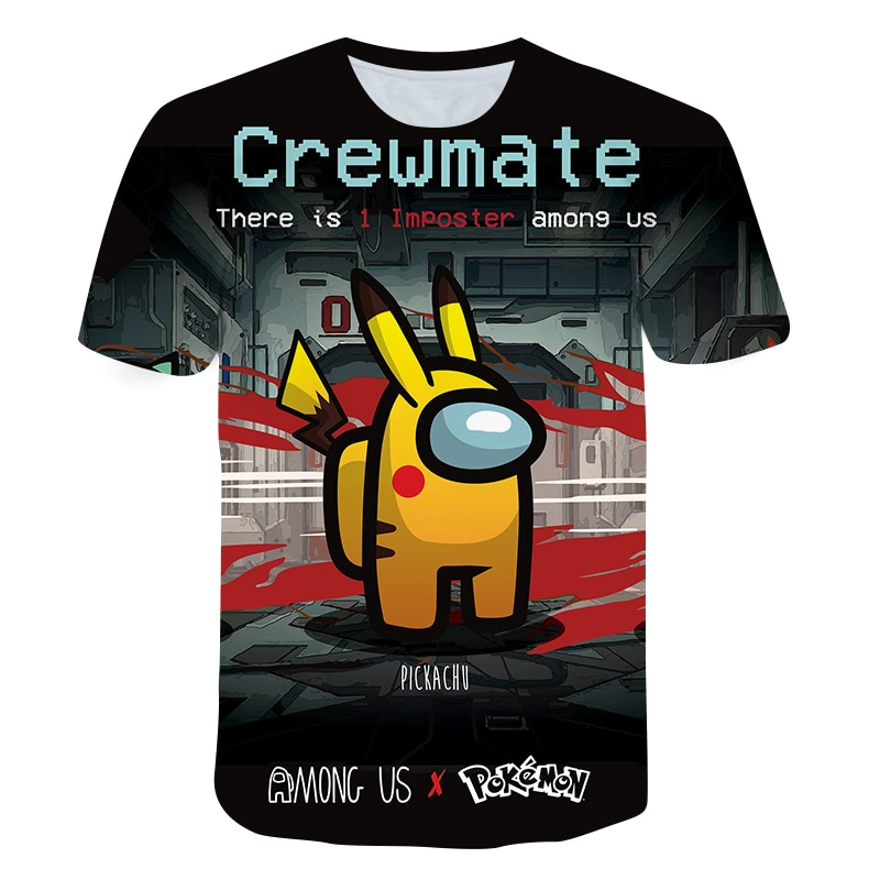Imposter game Crewmate T-shirt Among Us Boys and Girls short-sleeved O-neck print Football shirt children's Clothing top Super