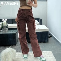 iamsure loose pockets jeans solid mid waisted womens trousers wide leg pants autumn spring ladies fashion casual streetwear