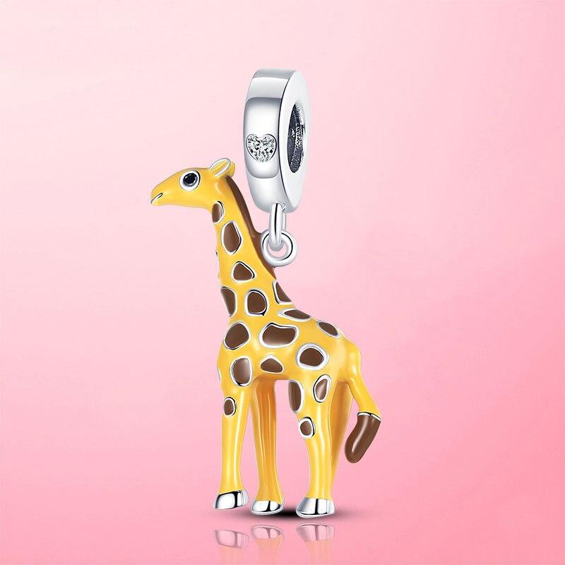 Новинка-2021-Очаровательная-подвеска-в-виде-желтого-жирафа-подходящая-для-оригинального-браслета-детский-Серебряный-подарок-бижутерия-«с