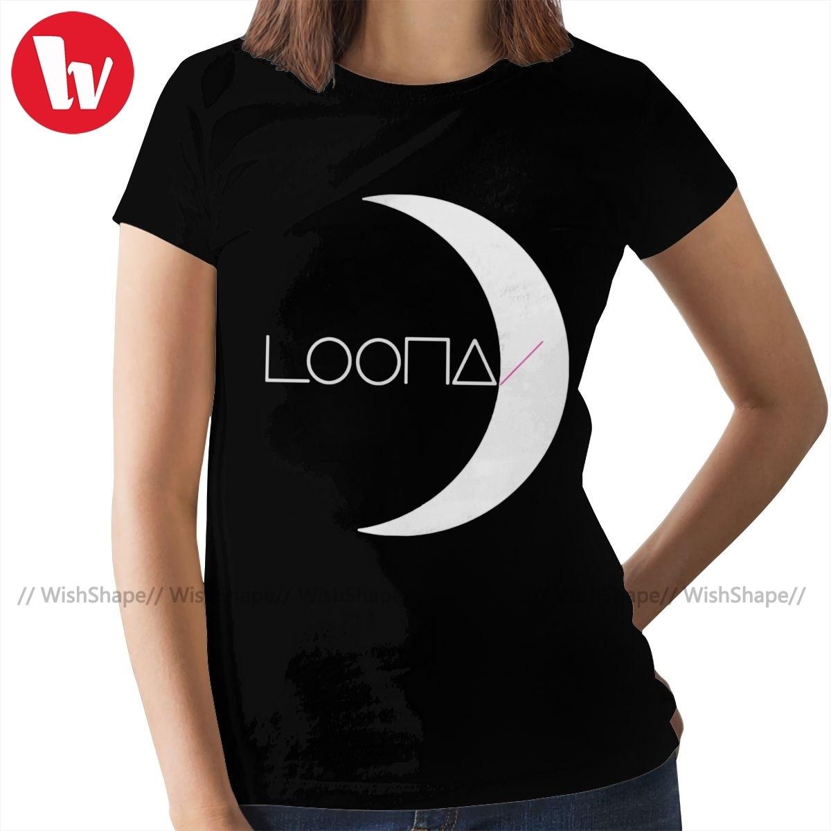 Loona kpop camiseta kpop girlgroup loona logo t camisa roupas de rua oversize feminino tshirt o pescoço das senhoras camiseta