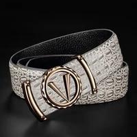 v letter grey genuine leather designer belts luxury fashion cowskin waist strap casual belt for mens good quality ceinture homme