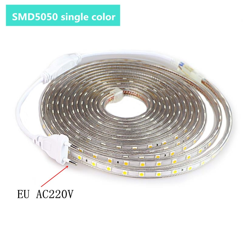 LED Strip Outdoor Waterproof Warm White SMD 5050 Light 1M 2M 3M 5M 10M 20M 25M 220V Flexible