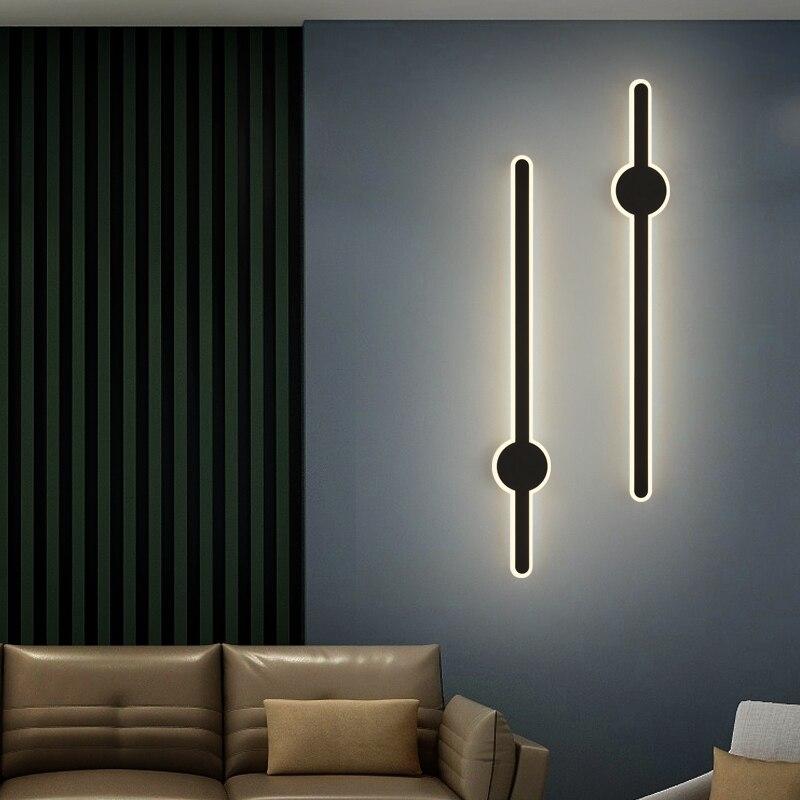 Nordic Minimalist Modern Wrought Iron Long Wall Lamp Round Acrylic Bedroom Study Corridor Lighting