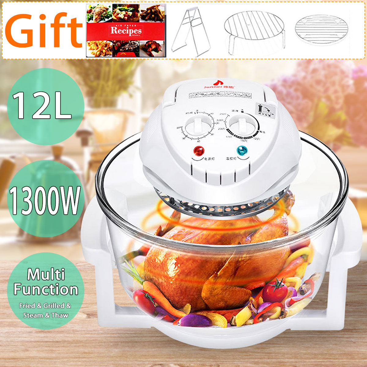 1300W 12L Multifunction Conventional Infrared Oven Roaster Air Fryer Turbo Electric Cooker BBQ Bake Cook With Recipe 110V-220V