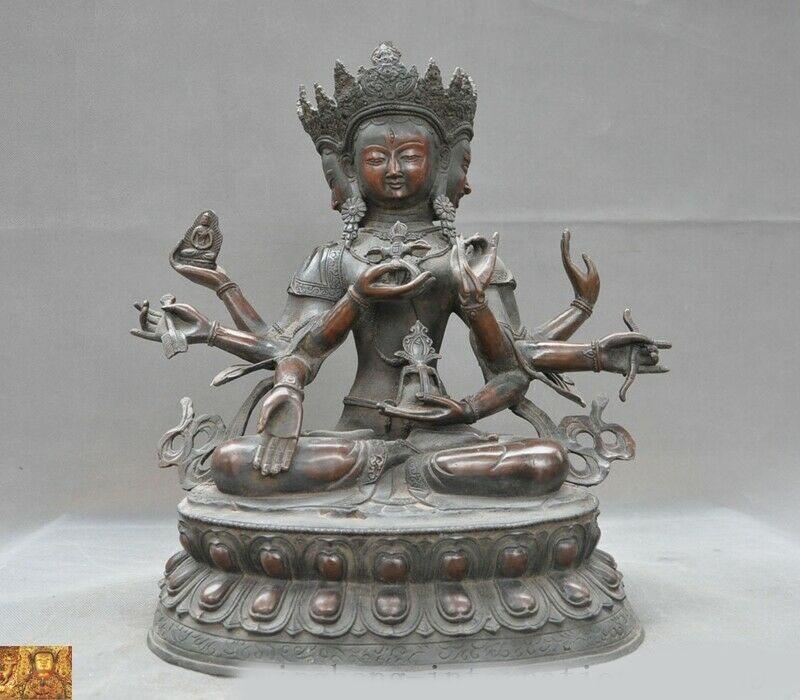 Decoración de boda Templo de Tíbet bronce púrpura 3 cabeza 8 brazos Namgyalma & Ushnishavijaya estatua de Buda