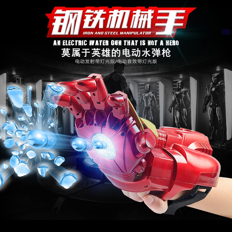 Iron Man Gloves Toy Actionable Doll Launcher Cartoon Funny Iron Man Gloves Launcher Children Flash Sound Gift