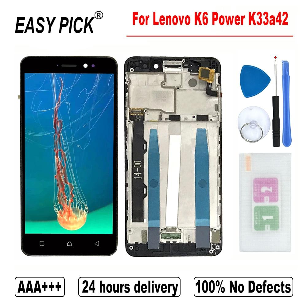 Para lenovo k6 power k33a42 display lcd tela de toque digitador assembléia substituição com quadro ferramentas gratuitas para lenovo k6 dupla sim