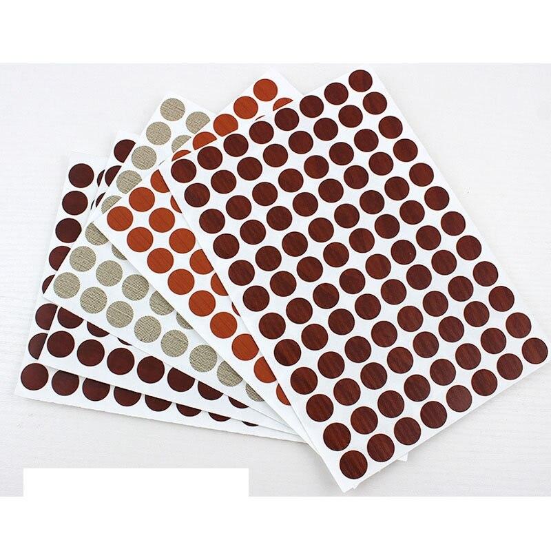 96 pces/papel 15 mm placa gabinete parafuso de fibra de parafuso rosqueando parafuso olho vara auto-adesivo capa gabinete anel adesivo
