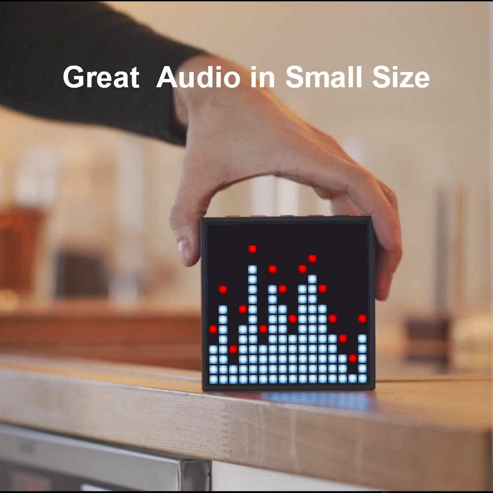 Waterproof Bluetooth portable speaker with programmable LED display for clock alarm, can be used for pixel art creation