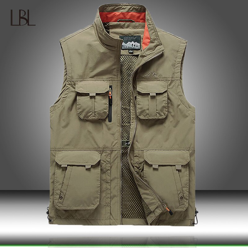 Tático colete jaqueta masculina multi-bolso clássico colete masculino sem mangas descarregamento sólido trabalho colete fotógrafo jaquetas 6xl